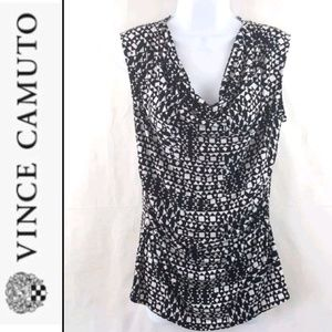 Vince Camuto Blouse Large black white geo print